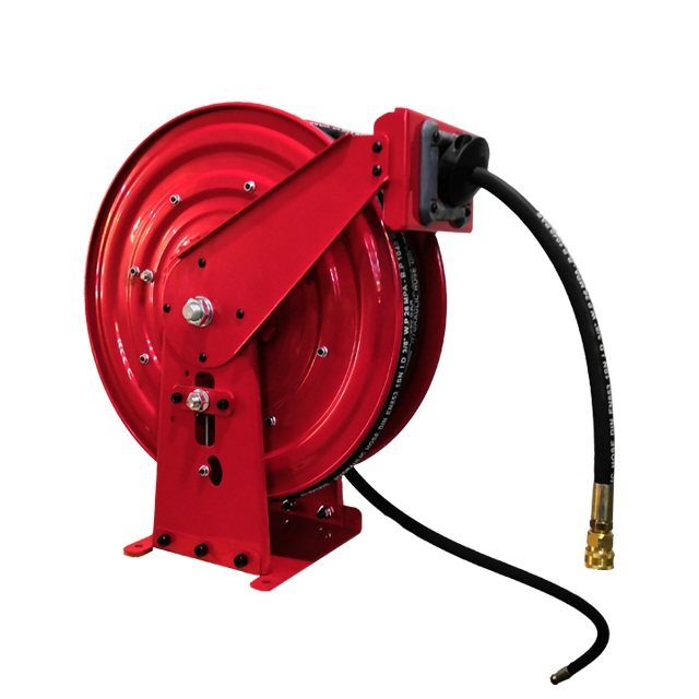 Spring retractable single hose reels